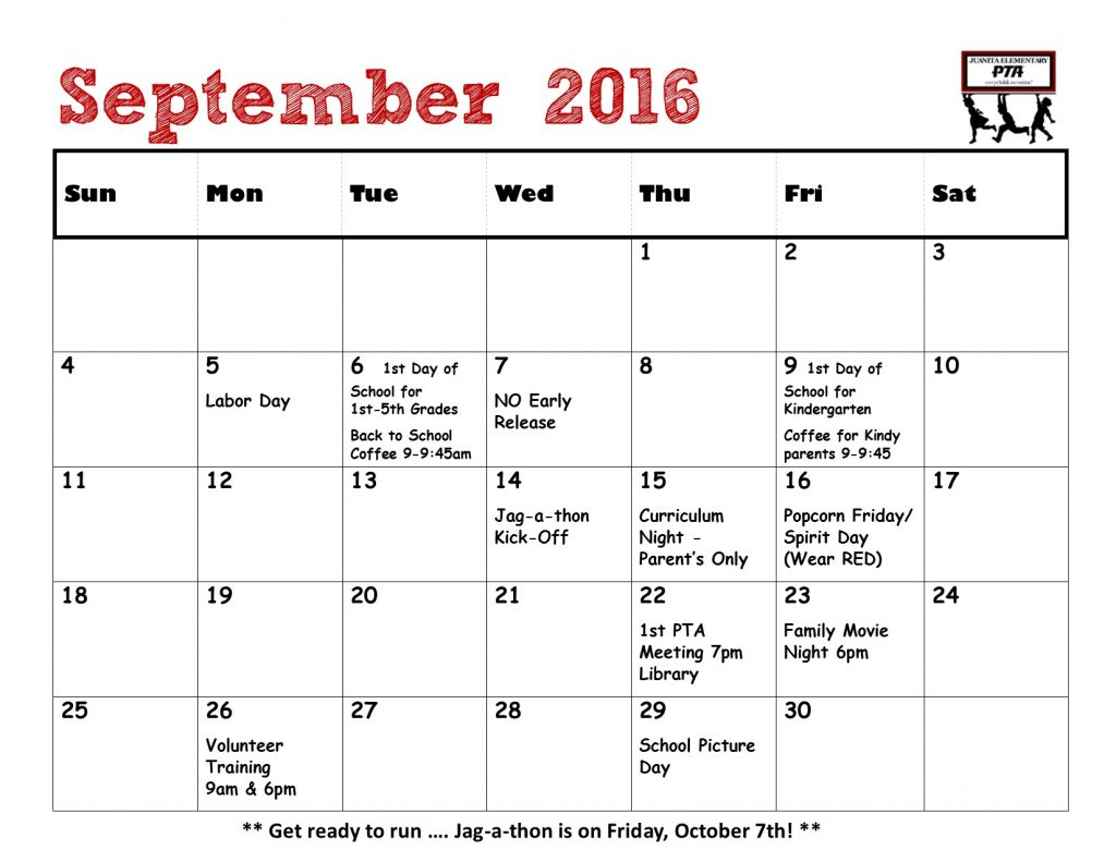 Calendar for Bulletin Board - September 2016